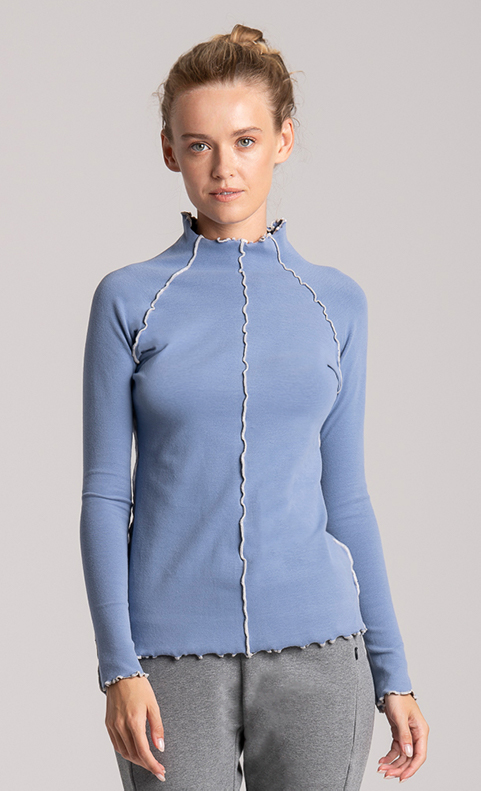 top long sleeve cotton blue