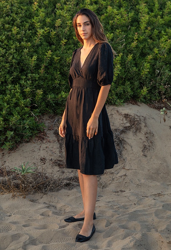 jacquard puff sleeves dress2